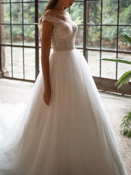 A-Line Wedding Dresses Off Shoulder Court Train Tulle Short Sleeve Plus Size_2
