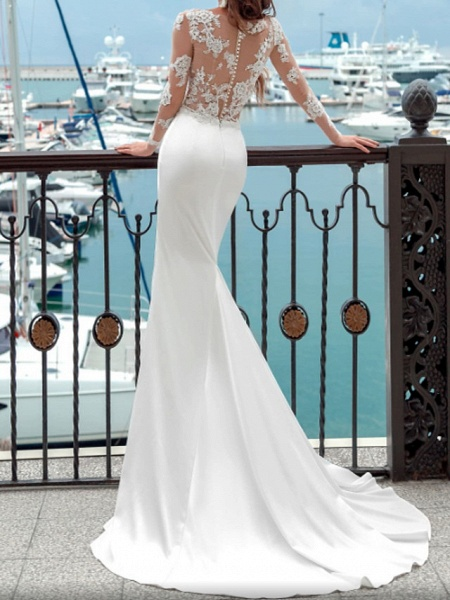 Mermaid \ Trumpet Wedding Dresses Jewel Neck Sweep \ Brush Train Lace Polyester Long Sleeve Country Plus Size_2