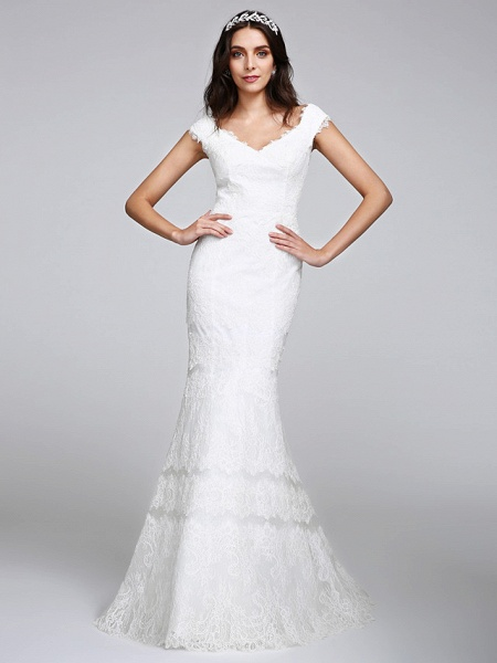 Mermaid \ Trumpet Wedding Dresses V Neck Floor Length All Over Lace Cap Sleeve Romantic Sexy Illusion Detail Backless_2