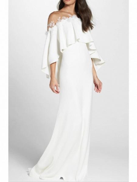 Sheath \ Column Wedding Dresses Jewel Neck Sweep \ Brush Train Jersey 3\4 Length Sleeve Simple Backless Elegant_1