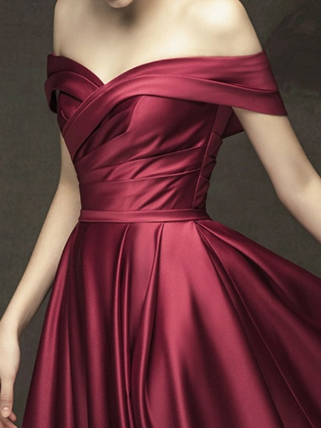 A-Line Wedding Dresses Off Shoulder Floor Length Satin Short Sleeve Beach Wedding Dress in Color_3