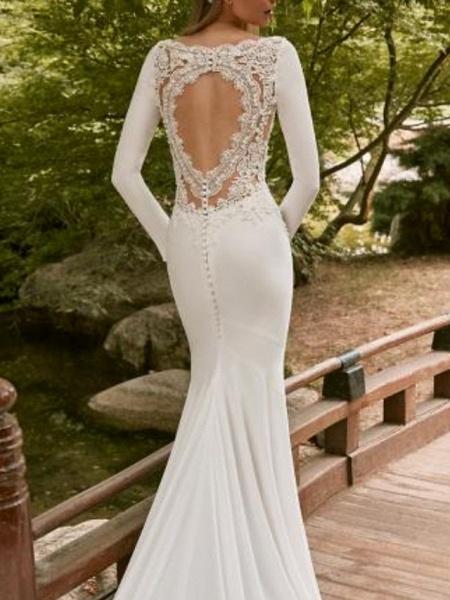Mermaid \ Trumpet Wedding Dresses Jewel Neck Court Train Satin Long Sleeve_2