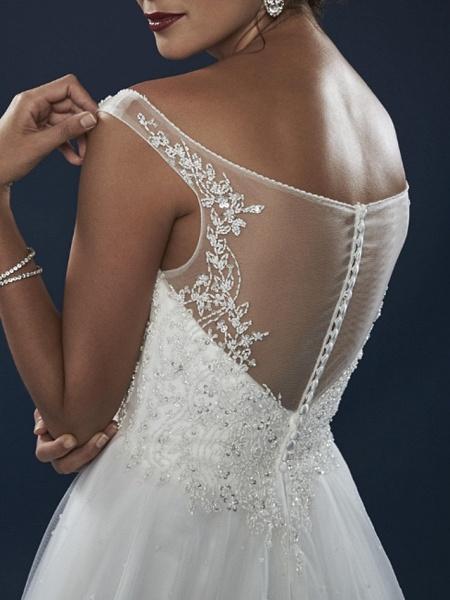 A-Line Wedding Dresses Off Shoulder Court Train Lace Tulle Short Sleeve_2