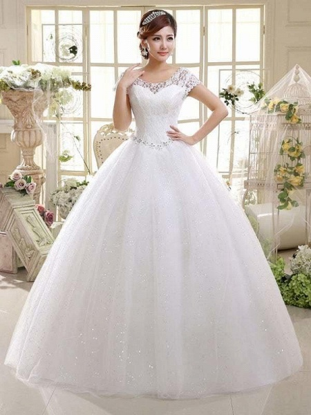 Cheap Bridal Beaded Sequin Crystal Lace Wedding Dress_1