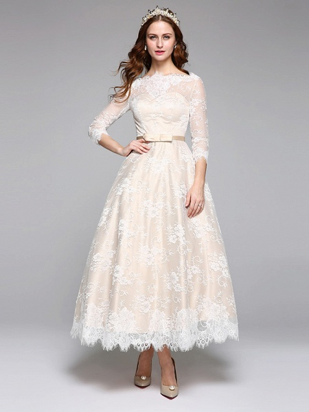 A-Line Wedding Dresses Bateau Neck Ankle Length Lace Over Satin 3\4 Length Sleeve Casual Boho See-Through Cute Illusion Sleeve_1