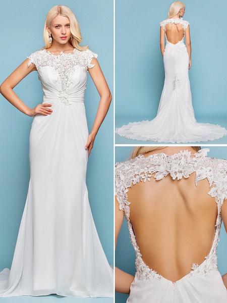 Mermaid \ Trumpet Wedding Dresses Jewel Neck Court Train Chiffon Short Sleeve Open Back_6