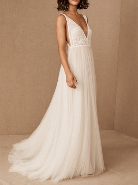 A-Line Wedding Dresses V Neck Floor Length Tulle Polyester Sleeveless Casual Boho Plus Size_2