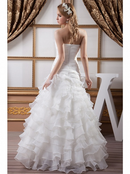 A-Line Strapless Floor Length Organza Satin Strapless Wedding Dresses_4