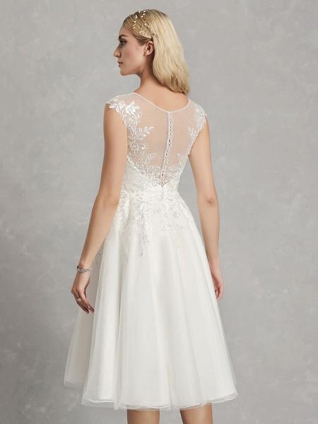 A-Line Wedding Dresses Jewel Neck Tea Length Lace Tulle Cap Sleeve Beautiful Back_6