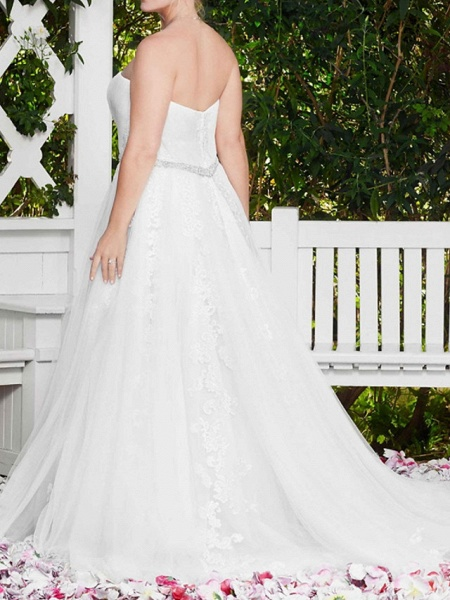 A-Line Wedding Dresses Sweetheart Neckline Court Train Lace Sleeveless Sexy Wedding Dress in Color_6