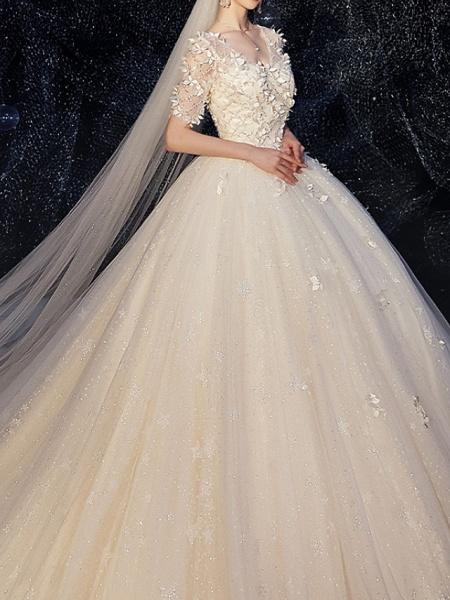 A-Line Wedding Dresses V Neck Chapel Train Lace Half Sleeve_3