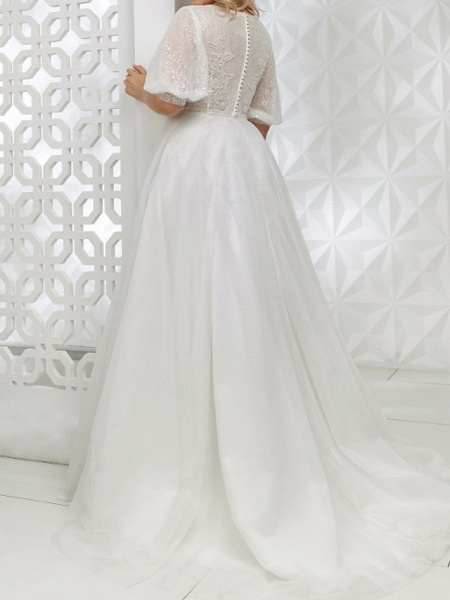 A-Line V Neck Sweep \ Brush Train Lace Tulle Sequined Half Sleeve Country Plus Size Wedding Dresses_2