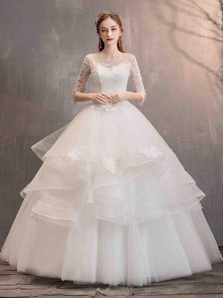 Ball Gown Wedding Dresses Jewel Neck Floor Length Lace Tulle Half Sleeve Glamorous See-Through Backless Illusion Sleeve_2