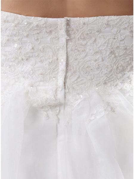 A-Line Square Neck Court Train Lace Organza Satin Cap Sleeve Formal Vintage Illusion Detail Plus Size Wedding Dresses_5