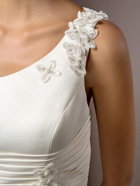 Mermaid \ Trumpet Wedding Dresses One Shoulder Court Train Satin Sleeveless_9
