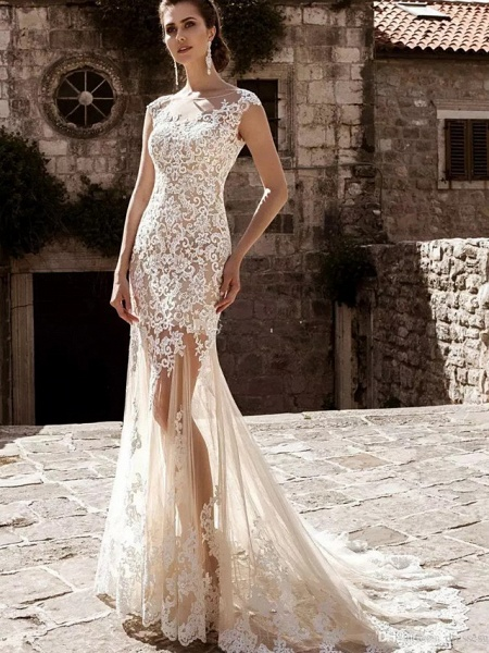 Mermaid \ Trumpet Jewel Neck Court Train Lace Tulle Cap Sleeve Modern Detachable Wedding Dresses_2