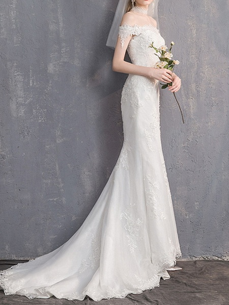 Mermaid \ Trumpet Wedding Dresses Off Shoulder Sweep \ Brush Train Lace Tulle Sleeveless Country Plus Size Backless_4