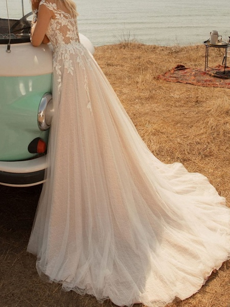 A-Line Wedding Dresses V Neck Sweep \ Brush Train Lace Tulle Jersey Long Sleeve Country Plus Size Illusion Sleeve_4