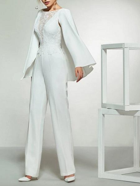 Jumpsuits Wedding Dresses Bateau Neck Floor Length Lace Satin Long Sleeve Romantic Plus Size Modern_2