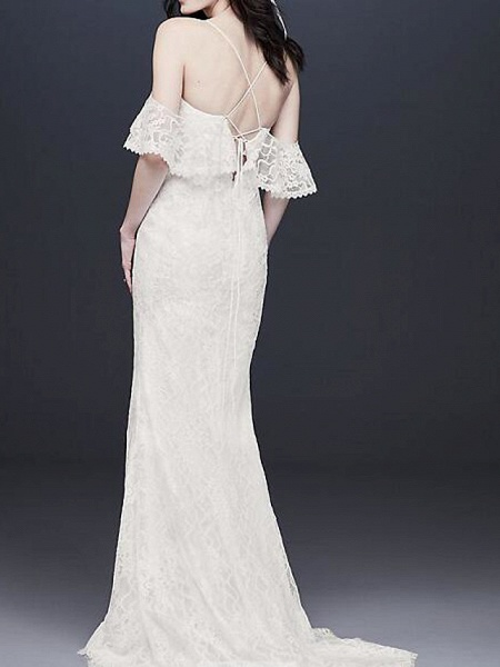 A-Line Wedding Dresses V Neck Floor Length Polyester Half Sleeve Country Plus Size_2