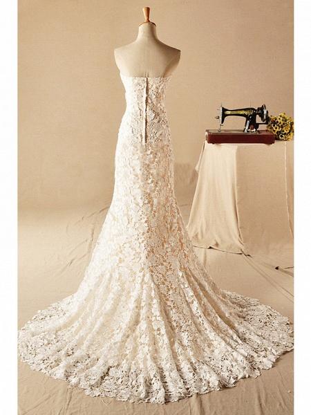 Mermaid \ Trumpet Wedding Dresses Strapless Court Train Lace Sleeveless Formal_3