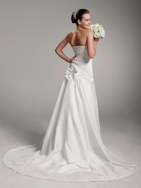 Princess A-Line Wedding Dresses Strapless Court Train Taffeta Sleeveless_4