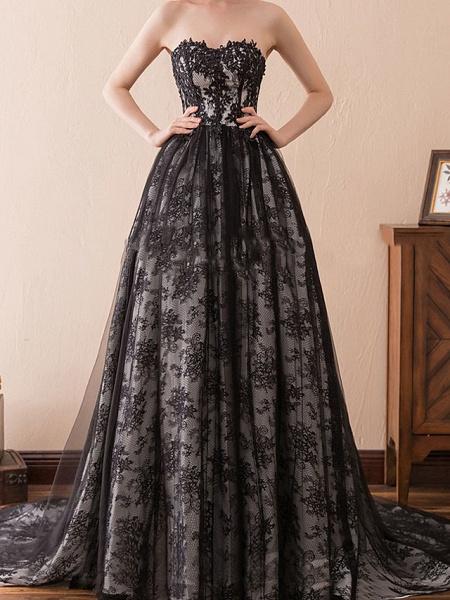 A-Line Strapless Sweep \ Brush Train Tulle Strapless Formal Black Modern Wedding Dresses_3