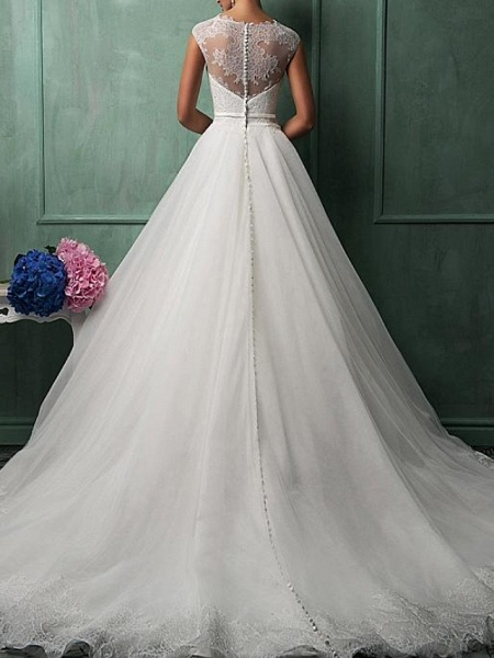 Ball Gown A-Line Wedding Dresses Jewel Neck Sweep \ Brush Train Lace Tulle Cap Sleeve Formal See-Through_2