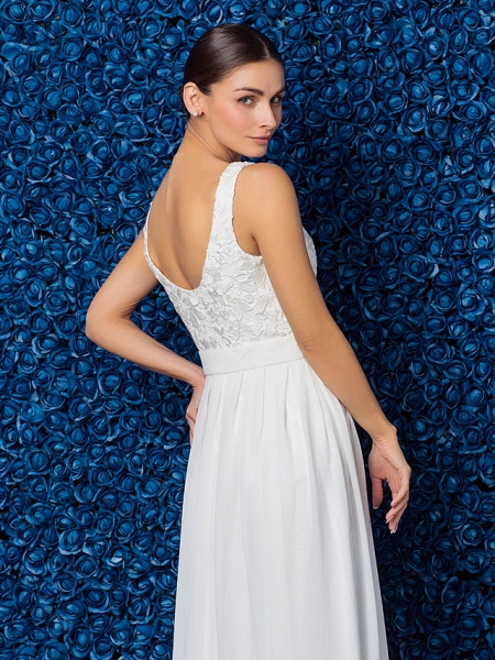 Sheath \ Column Elegant Prom Formal Evening Dress Illusion Neck Sleeveless Floor Length Chiffon Lace_10