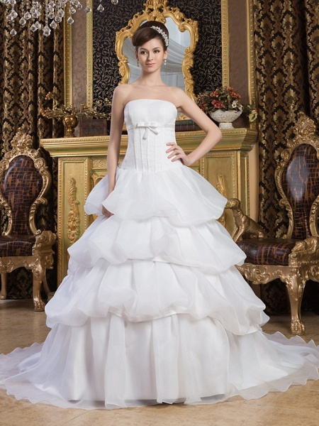 Ball Gown Strapless Court Train Organza Satin Strapless Wedding Dresses_1