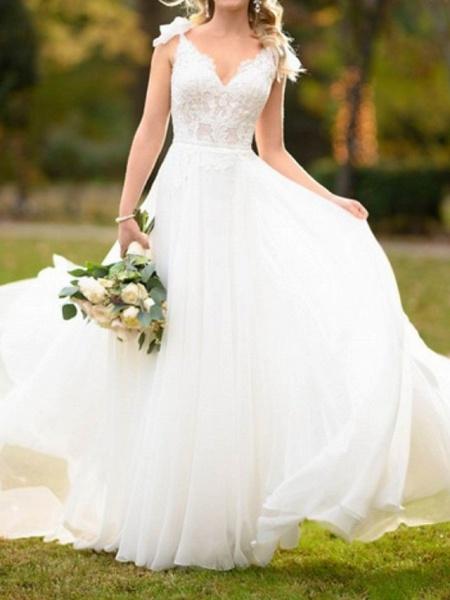A-Line Wedding Dresses V Neck Sweep \ Brush Train Lace Tulle Spaghetti Strap_2