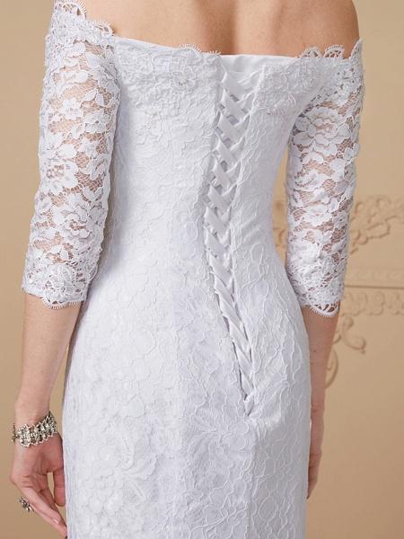 Mermaid \ Trumpet Wedding Dresses Off Shoulder Court Train Lace Sequined 3\4 Length Sleeve Romantic Plus Size Illusion Sleeve_7
