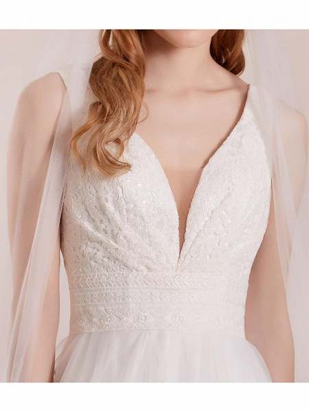 A-Line Wedding Dresses Plunging Neck Floor Length Polyester Sleeveless Country Plus Size_3