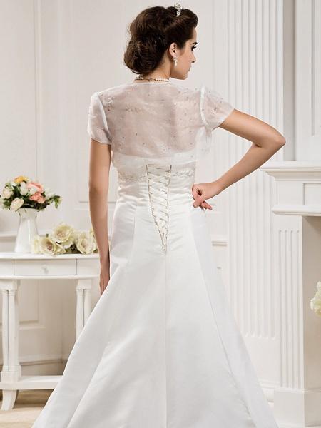 Princess A-Line Wedding Dresses Strapless Court Train Organza Satin Sleeveless_6