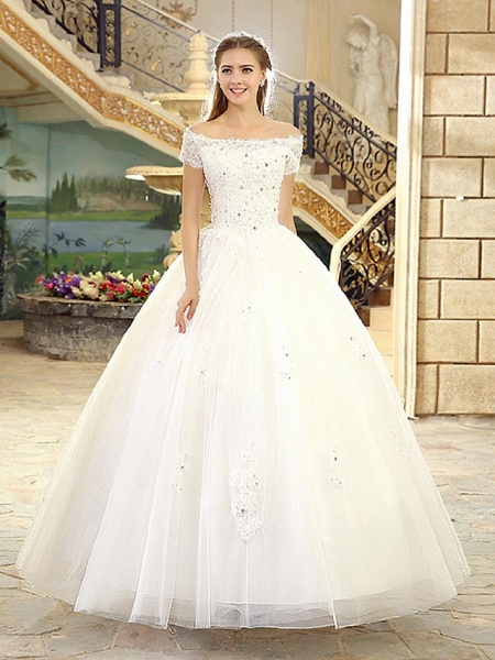 Ball Gown Wedding Dresses Off Shoulder Floor Length Lace Over Tulle Short Sleeve Casual Vintage Plus Size_1