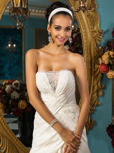 A-Line Wedding Dresses Strapless Court Train Satin Sleeveless_5