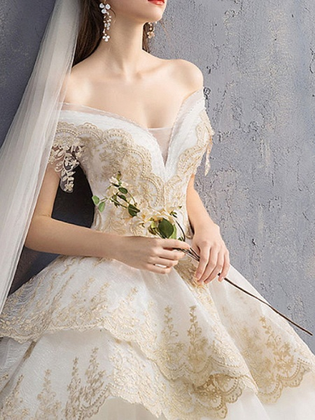 A-Line Wedding Dresses V Neck Floor Length Lace Tulle Regular Straps Casual See-Through Illusion Detail Plus Size_3