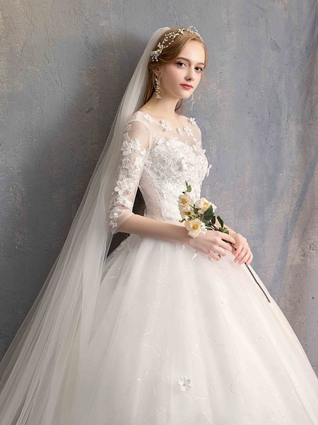 Ball Gown Wedding Dresses Scoop Neck Floor Length Lace Tulle Lace Over Satin Half Sleeve Country Vintage Illusion Sleeve_11