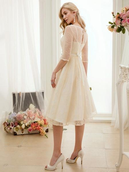 A-Line Wedding Dresses Bateau Neck Knee Length Lace Charmeuse 3\4 Length Sleeve See-Through_4
