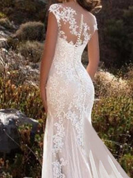 Mermaid \ Trumpet Wedding Dresses Jewel Neck Chapel Train Lace Tulle Sleeveless Glamorous_3