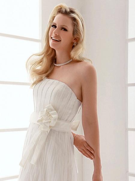 Sheath \ Column Wedding Dresses Strapless Floor Length Organza Sleeveless_4