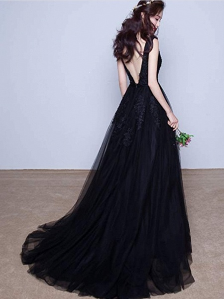 A-Line V Neck Court Train Lace Tulle Regular Straps Black Wedding Dresses_3