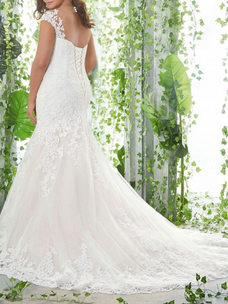 Mermaid \ Trumpet Sweetheart Neckline Sweep \ Brush Train Lace Tulle Sleeveless Romantic Wedding Dresses_3