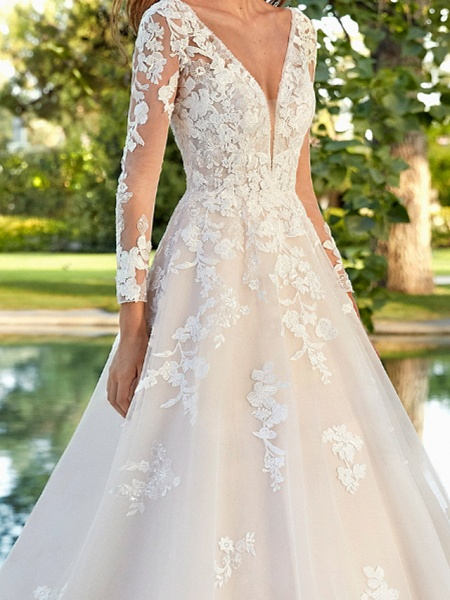 A-Line Wedding Dresses V Neck Sweep \ Brush Train Polyester Long Sleeve Country Plus Size_3