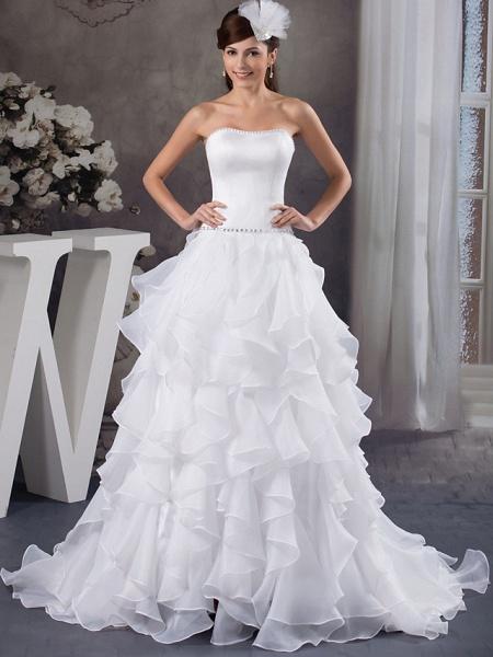 A-Line Strapless Court Train Organza Satin Strapless Wedding Dresses_1