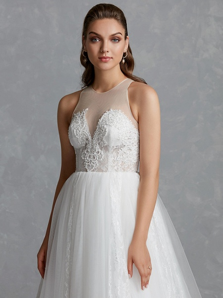 A-Line Wedding Dresses Jewel Neck Court Train Lace Tulle Regular Straps Glamorous See-Through Backless_8
