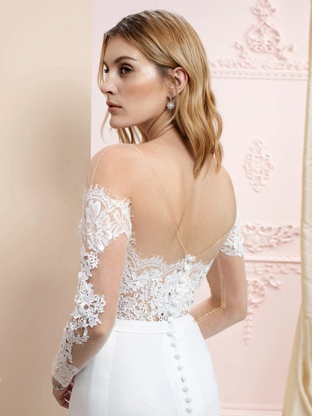 Mermaid \ Trumpet Wedding Dresses Bateau Neck Court Train Chiffon Corded Lace Long Sleeve Romantic Sexy See-Through Backless Illusion Sleeve_5
