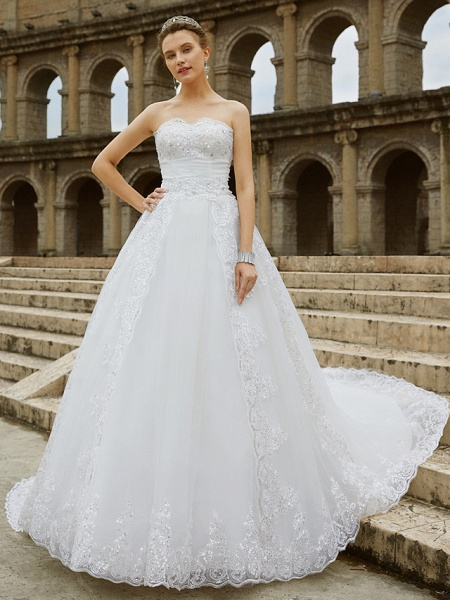 Ball Gown Wedding Dresses Strapless Sweep \ Brush Train Tulle Glitter Lace Strapless Country Sparkle & Shine Backless_5
