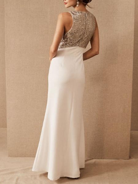 Sheath \ Column Wedding Dresses Jewel Neck Floor Length Satin Sequined Regular Straps Romantic Plus Size_2