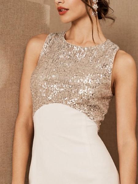 Sheath \ Column Wedding Dresses Jewel Neck Floor Length Satin Sequined Regular Straps Romantic Plus Size_3